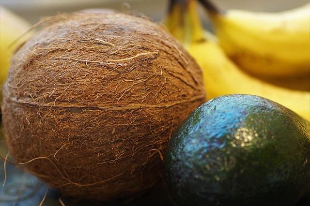 kokosový ořech, avokádo a banány